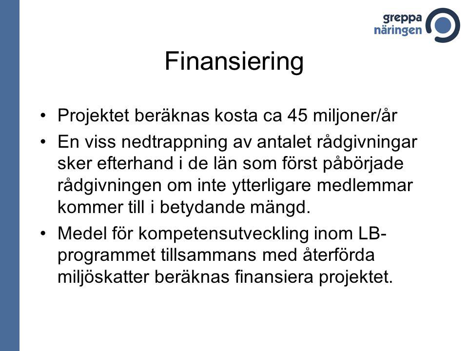 Finansiering Projektet beräknas kosta ca 45 miljoner/år En viss nedtrappning av antalet rådgivningar sker efterhand i de län som först påbörjade rådgivningen om inte ytterligare medlemmar kommer till i betydande mängd.