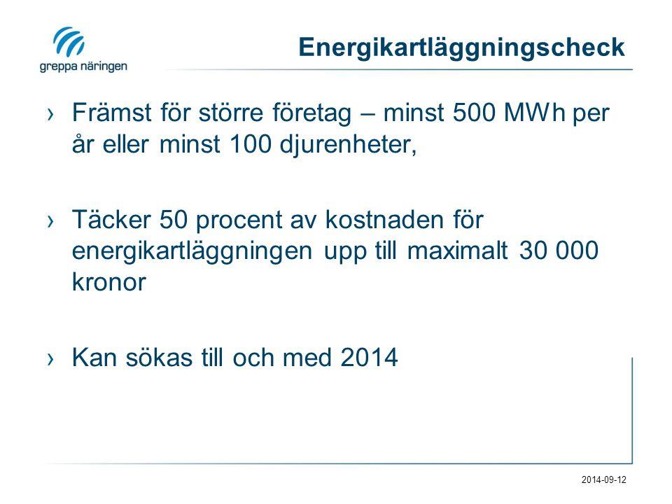 Energikartläggningscheck ›Främst för större företag – minst 500 MWh per år eller minst 100 djurenheter, ›Täcker 50 procent av kostnaden för energikartläggningen upp till maximalt 30 000 kronor ›Kan sökas till och med 2014 2014-09-12