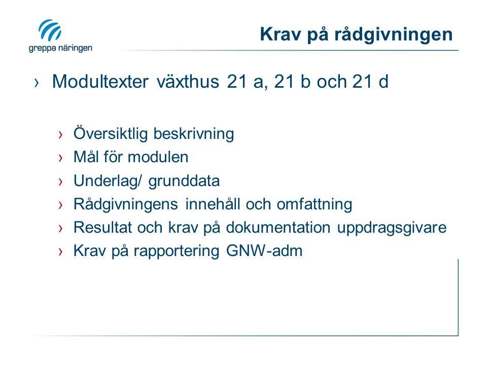Krav på rapportering ›Till uppdragsgivaren ›Till företagaren ›GNW-adm Kraven finns i modultexterna.
