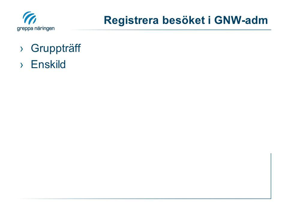 Registrera besöket i GNW-adm ›Gruppträff ›Enskild