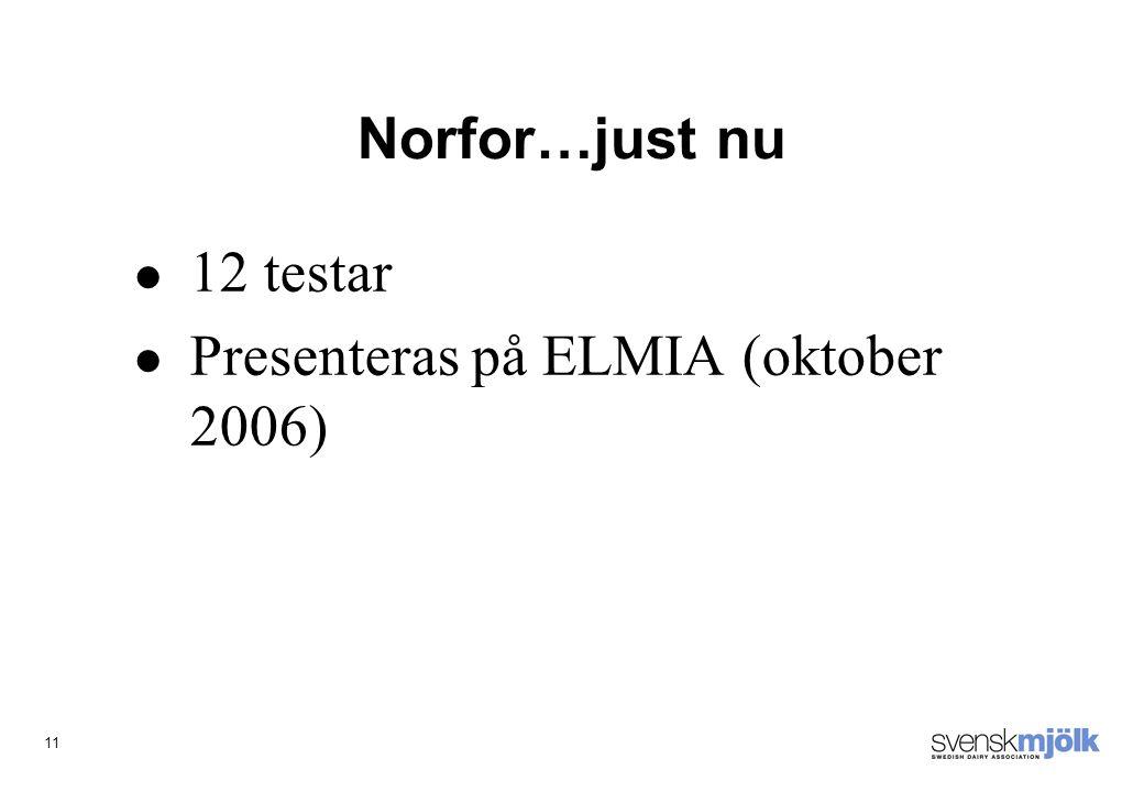 11 Norfor…just nu 12 testar Presenteras på ELMIA (oktober 2006)