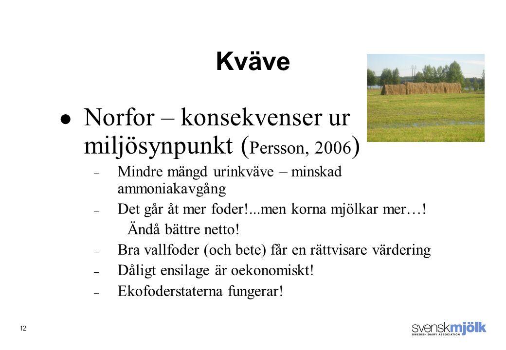 12 Kväve Norfor – konsekvenser ur miljösynpunkt ( Persson, 2006 ) – Mindre mängd urinkväve – minskad ammoniakavgång – Det går åt mer foder!...men korna mjölkar mer….