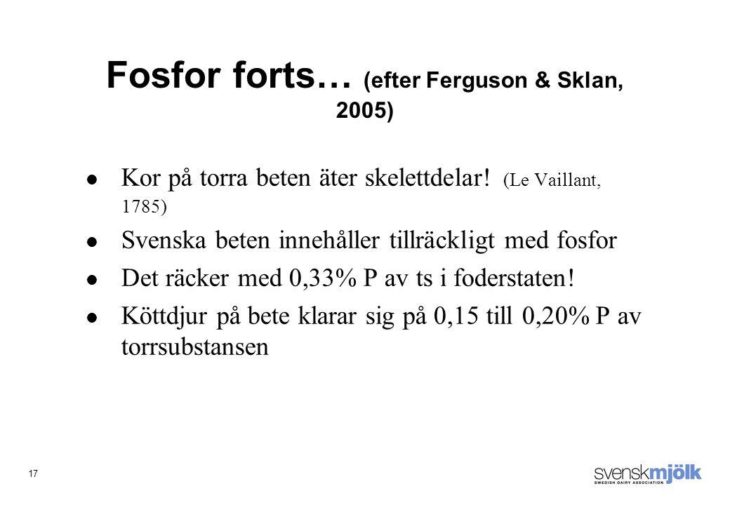 17 Fosfor forts… (efter Ferguson & Sklan, 2005) Kor på torra beten äter skelettdelar.