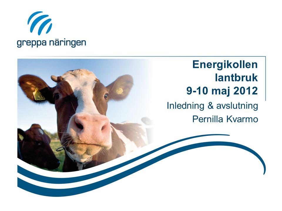 Energikollen lantbruk 9-10 maj 2012 Inledning & avslutning Pernilla Kvarmo