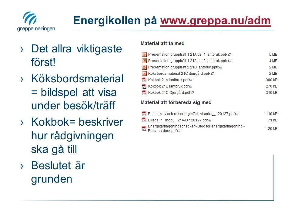Energikollen på www.greppa.nu/adm ›Det allra viktigaste först! ›Köksbordsmaterial = bildspel att visa under besök/träff ›Kokbok= beskriver hur rådgivn