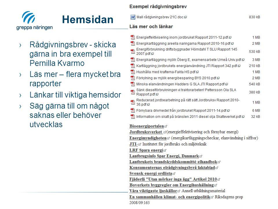 Hemsidan ›Rådgivningsbrev - skicka gärna in bra exempel till Pernilla Kvarmo ›Läs mer – flera mycket bra rapporter ›Länkar till viktiga hemsidor ›Säg gärna till om något saknas eller behöver utvecklas