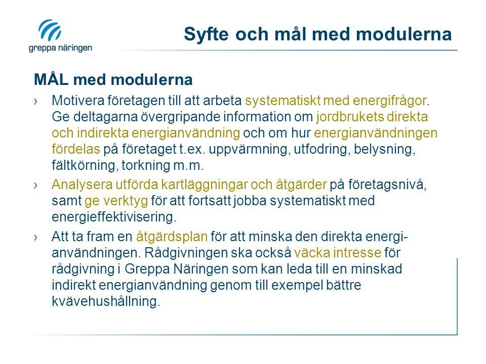 Syfte och mål med modulerna MÅL med modulerna ›Motivera företagen till att arbeta systematiskt med energifrågor. Ge deltagarna övergripande informatio
