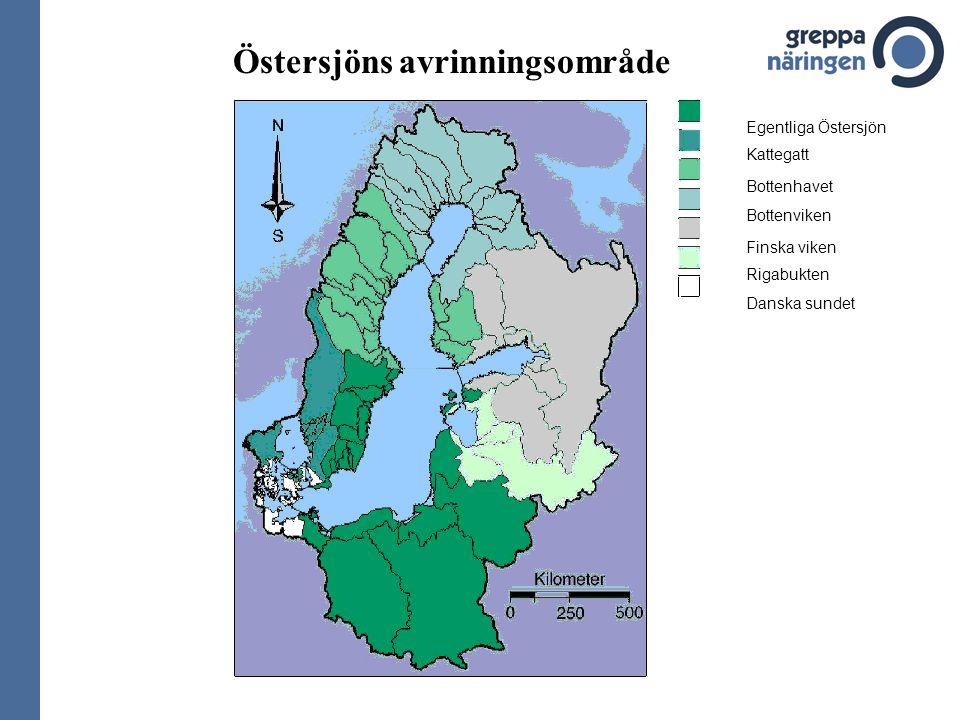 Östersjöns avrinningsområde Egentliga Östersjön Kattegatt Bottenhavet Bottenviken Finska viken Rigabukten Danska sundet