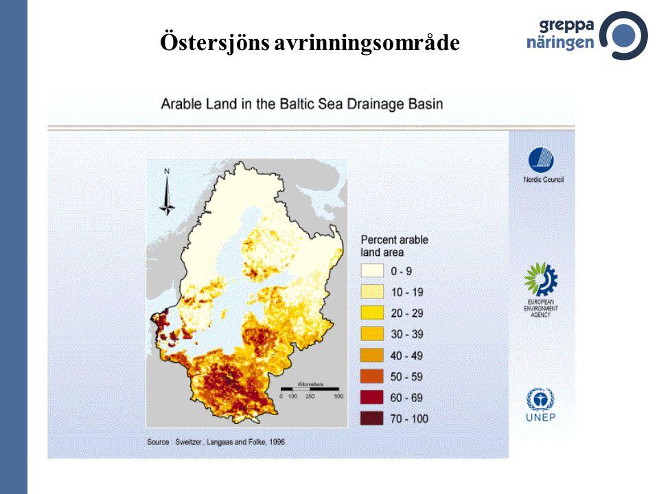 Problemen med övergödning i haven runt Sverige 1.Cirka 40 000 km2 syrefattiga / syrefria bottnar.