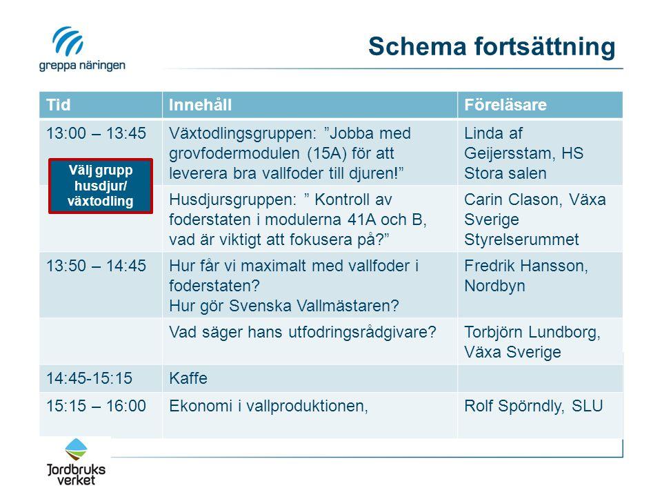 Schema fortsättning TidInnehållFöreläsare 13:00 – 13:45Växtodlingsgruppen: Jobba med grovfodermodulen (15A) för att leverera bra vallfoder till djuren! Linda af Geijersstam, HS Stora salen Husdjursgruppen: Kontroll av foderstaten i modulerna 41A och B, vad är viktigt att fokusera på Carin Clason, Växa Sverige Styrelserummet 13:50 – 14:45Hur får vi maximalt med vallfoder i foderstaten.