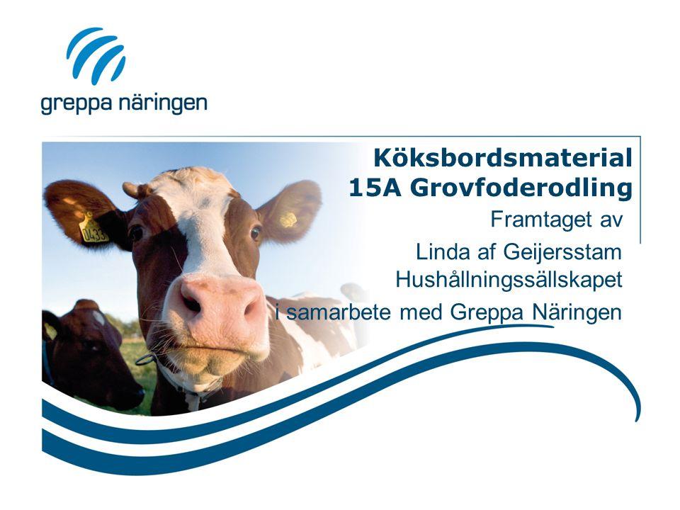 Köksbordsmaterial 15A Grovfoderodling Framtaget av Linda af Geijersstam Hushållningssällskapet i samarbete med Greppa Näringen