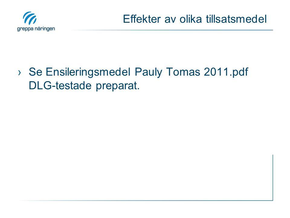 Effekter av olika tillsatsmedel ›Se Ensileringsmedel Pauly Tomas 2011.pdf DLG-testade preparat.