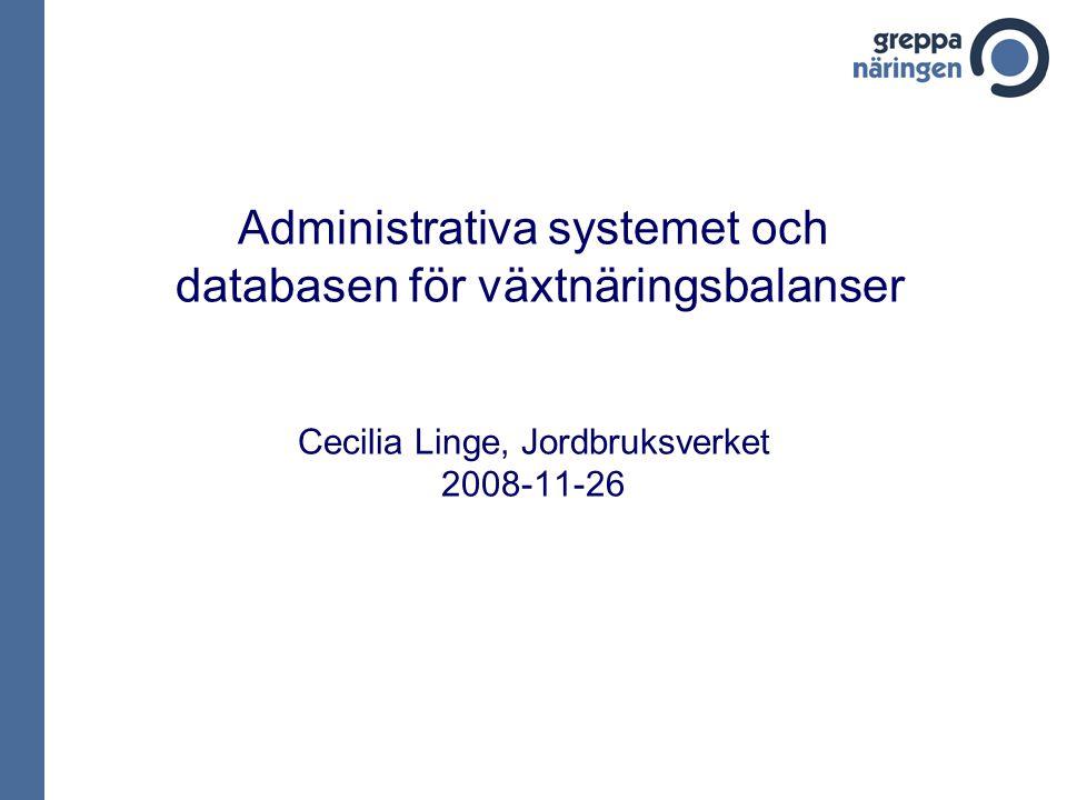 Administrativa systemet och databasen för växtnäringsbalanser Cecilia Linge, Jordbruksverket 2008-11-26