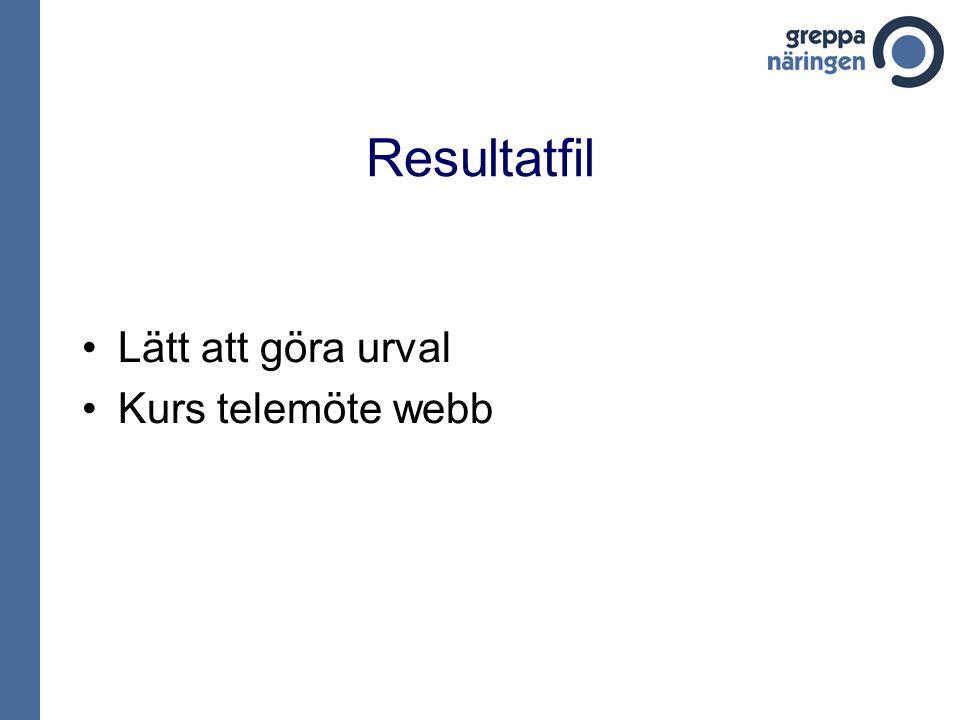 Resultatfil Lätt att göra urval Kurs telemöte webb