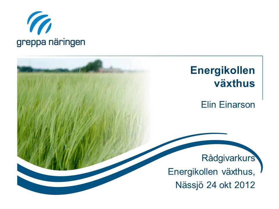 Energikollen växthus Elin Einarson Rådgivarkurs Energikollen växthus, Nässjö 24 okt 2012
