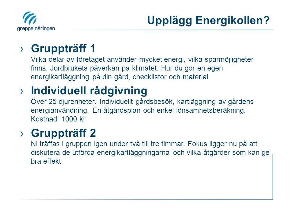 Upplägg Energikollen? ›Gruppträff 1 Vilka delar av företaget använder mycket energi, vilka sparmöjligheter finns. Jordbrukets påverkan på klimatet. Hu