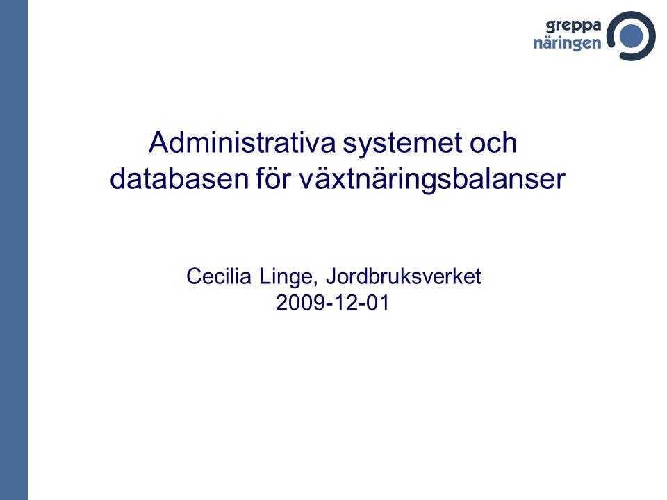 Administrativa systemet och databasen för växtnäringsbalanser Cecilia Linge, Jordbruksverket 2009-12-01