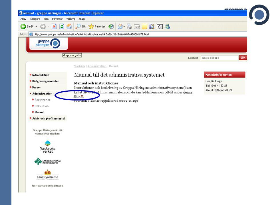 Manual till GNW-adm Laddas hem som pdf-fil på www.greppa.nu/adm Under menyn Administration Manual