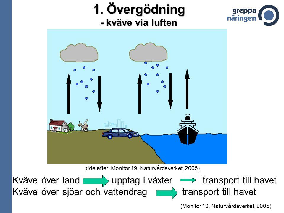 1. Övergödning - kväve via luften Kväve över land upptag i växter transport till havet Kväve över sjöar och vattendrag transport till havet (Monitor 1