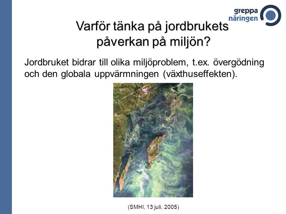 Varför tänka på jordbrukets påverkan på miljön? Jordbruket bidrar till olika miljöproblem, t.ex. övergödning och den globala uppvärmningen (växthuseff