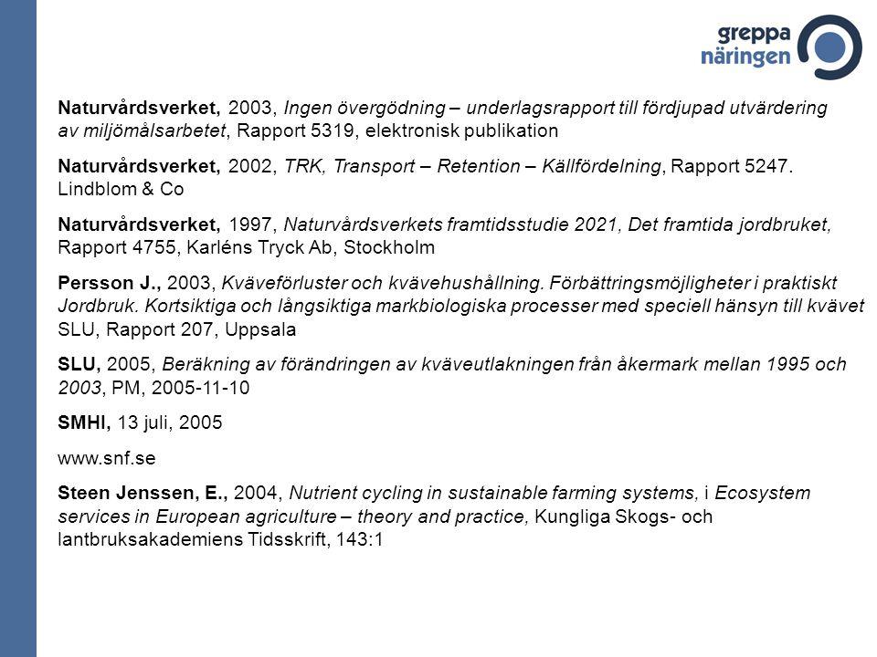 Naturvårdsverket, 2003, Ingen övergödning – underlagsrapport till fördjupad utvärdering av miljömålsarbetet, Rapport 5319, elektronisk publikation Nat