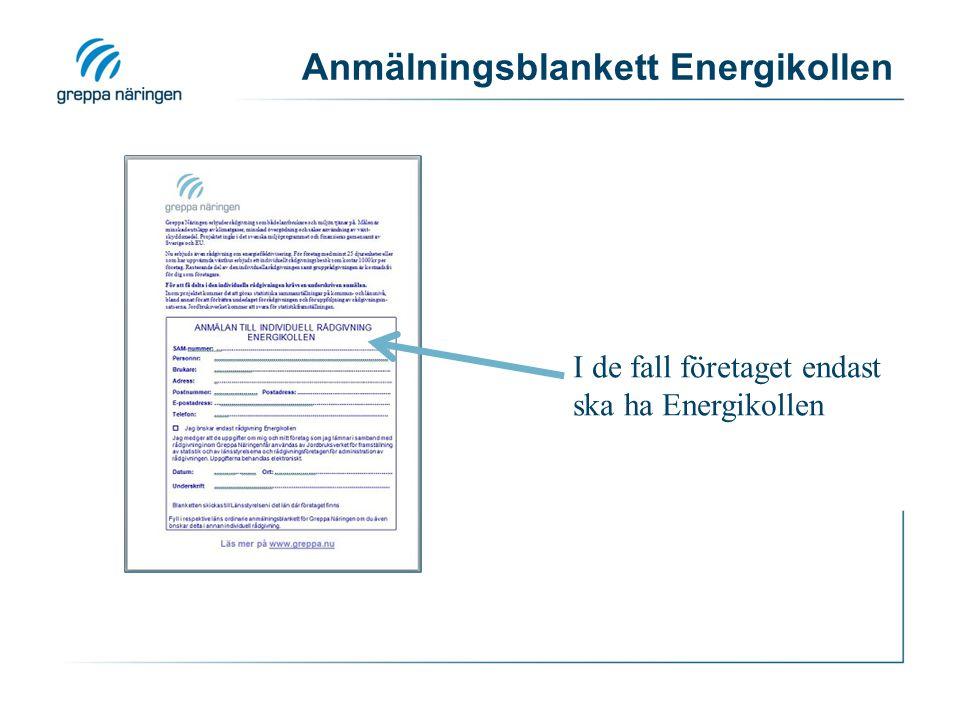 Anmälningsblankett Energikollen I de fall företaget endast ska ha Energikollen