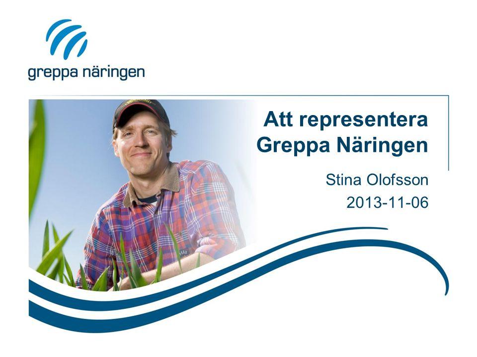 Att representera Greppa Näringen Stina Olofsson 2013-11-06