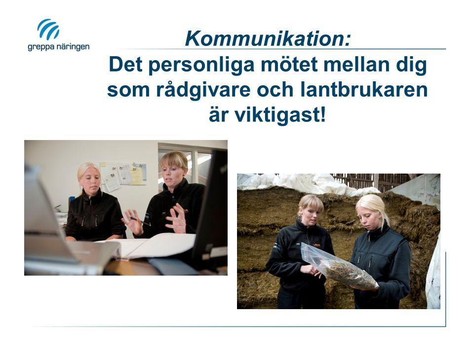 Kommunikation: Det personliga mötet mellan dig som rådgivare och lantbrukaren är viktigast!