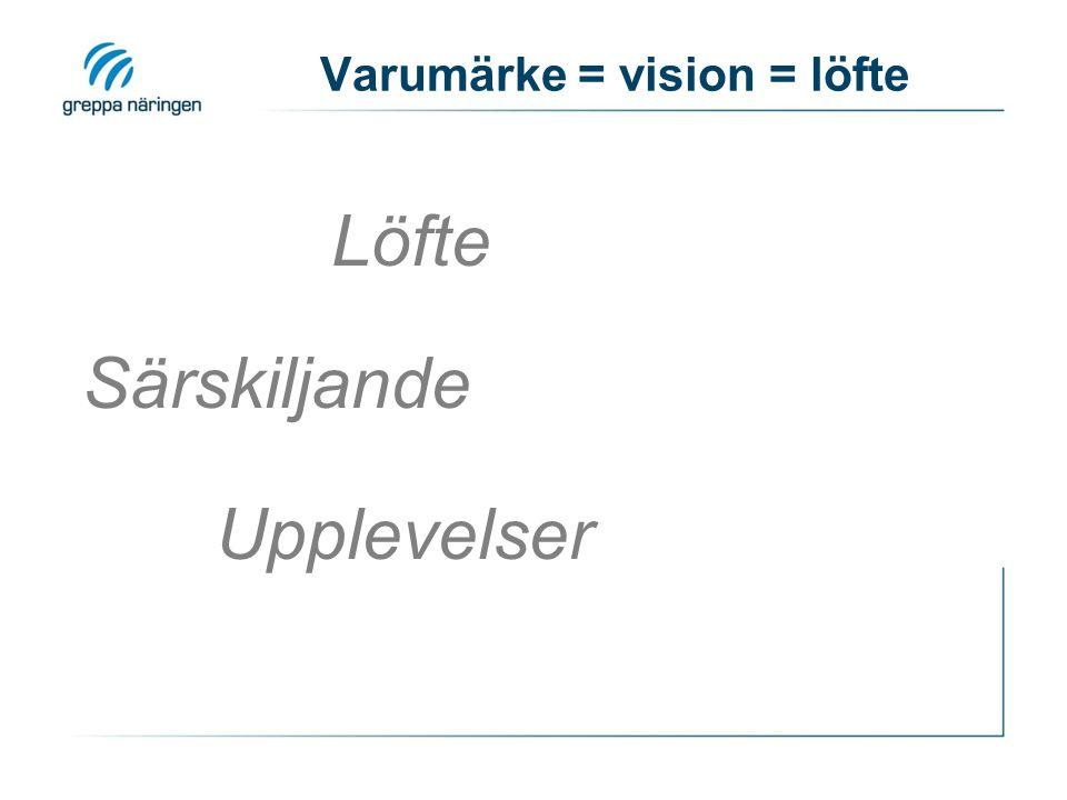 Särskiljande Löfte Upplevelser Varumärke = vision = löfte