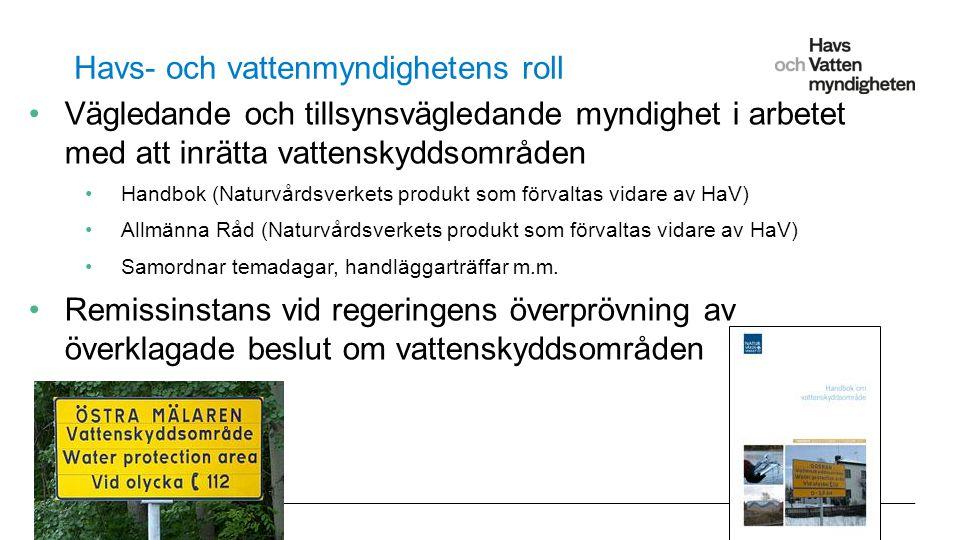 För att ändra/uppdatera/ta bort Presentationsnamn och Namn i foten, gå in på Infoga - Sidhuvud/sidfot Havs- och vattenmyndighetens roll Vägledande och tillsynsvägledande myndighet i arbetet med att inrätta vattenskyddsområden Handbok (Naturvårdsverkets produkt som förvaltas vidare av HaV) Allmänna Råd (Naturvårdsverkets produkt som förvaltas vidare av HaV) Samordnar temadagar, handläggarträffar m.m.