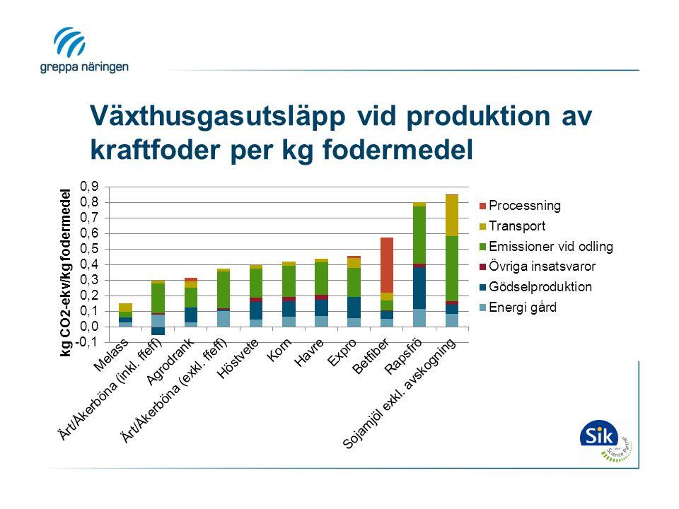 Växthusgasutsläpp vid produktion av kraftfoder per kg fodermedel