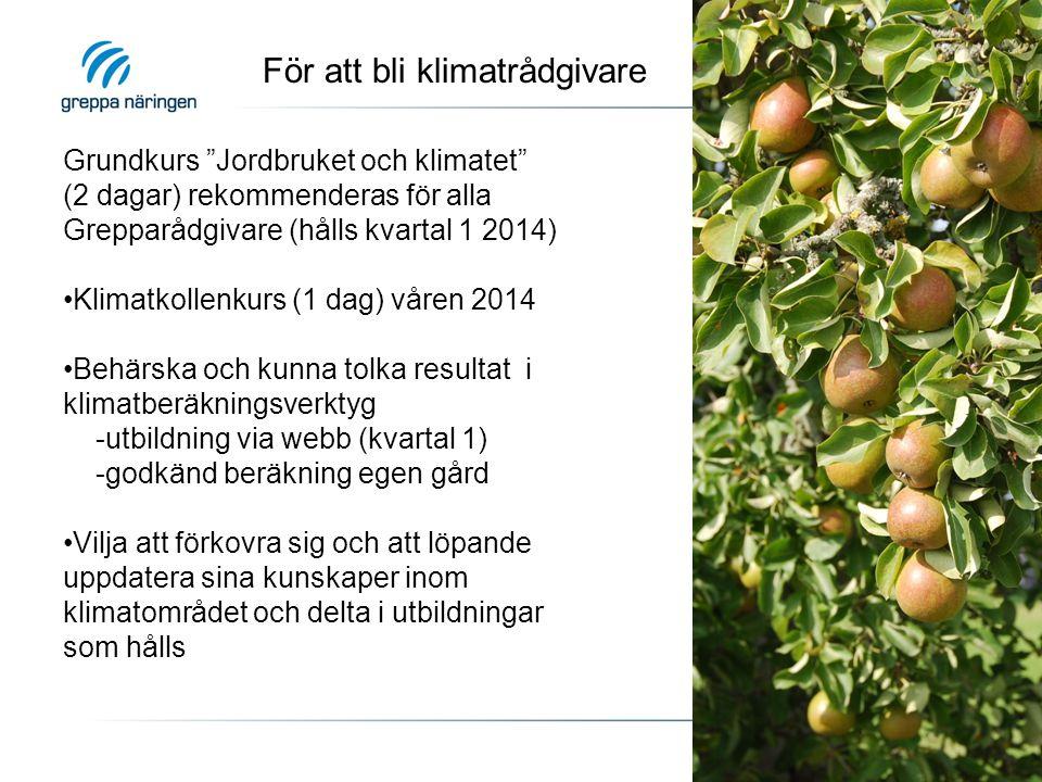 """För att bli klimatrådgivare Grundkurs """"Jordbruket och klimatet"""" (2 dagar) rekommenderas för alla Grepparådgivare (hålls kvartal 1 2014) Klimatkollenku"""