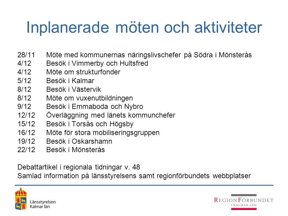 Inplanerade möten och aktiviteter 28/11Möte med kommunernas näringslivschefer på Södra i Mönsterås 4/12Besök i Vimmerby och Hultsfred 4/12Möte om stru