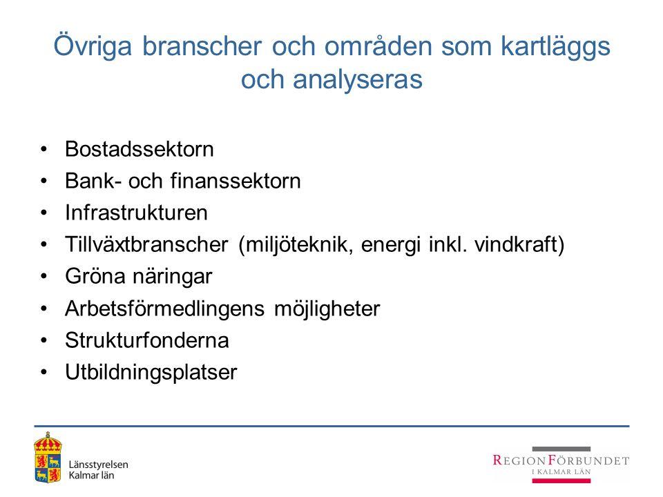 Övriga branscher och områden som kartläggs och analyseras Bostadssektorn Bank- och finanssektorn Infrastrukturen Tillväxtbranscher (miljöteknik, energ