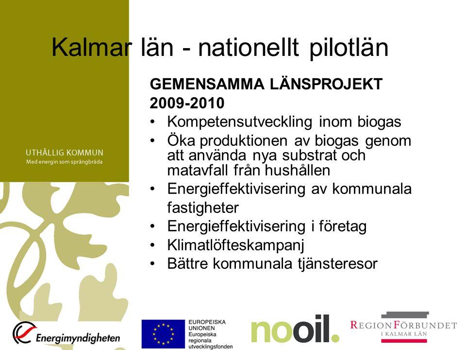 Kalmar län - nationellt pilotlän GEMENSAMMA LÄNSPROJEKT 2009-2010 Kompetensutveckling inom biogas Öka produktionen av biogas genom att använda nya substrat och matavfall från hushållen Energieffektivisering av kommunala fastigheter Energieffektivisering i företag Klimatlöfteskampanj Bättre kommunala tjänsteresor