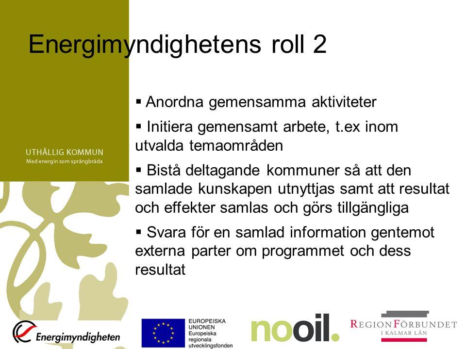 Uthållig kommun i Kalmar län Uthållig kommun är ett verktyg för att nå målen –Kommunerna tar fram energi- och klimatstrategi och ökar omställningstakten –Samverkan mellan kommunerna och regionala organisationer, näringsliv och universitet –Samverkan med Energimyndigheten –Samverkan med andra kommuner i landet –Tillgång till experter