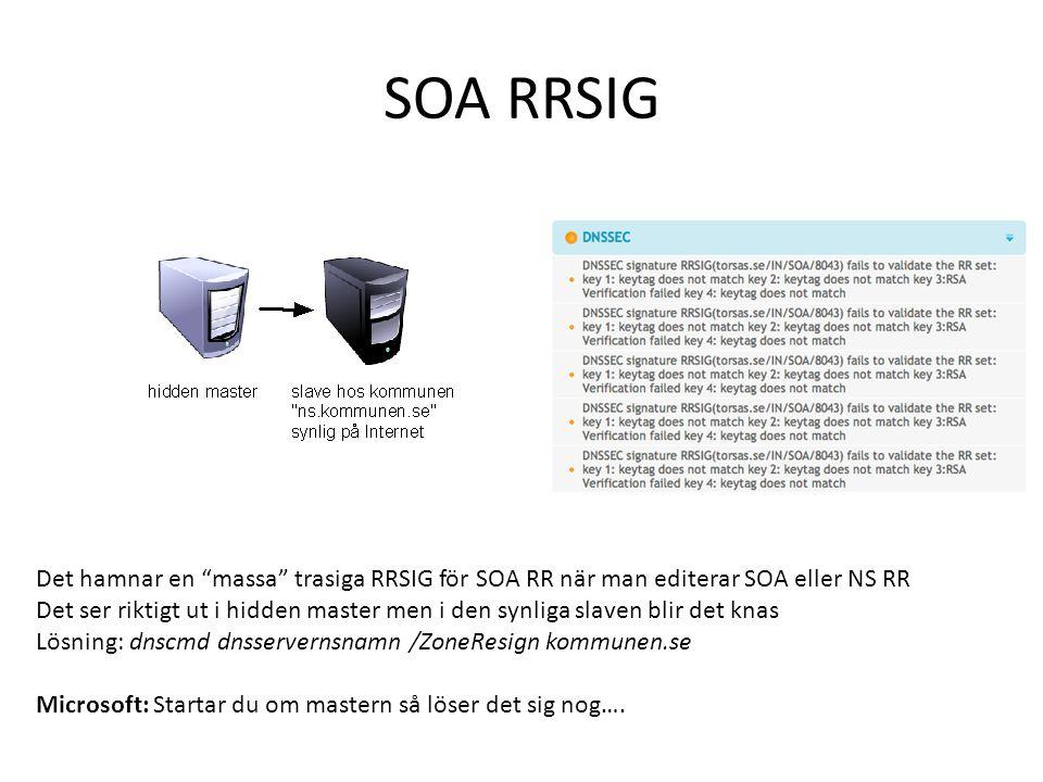 """SOA RRSIG Det hamnar en """"massa"""" trasiga RRSIG för SOA RR när man editerar SOA eller NS RR Det ser riktigt ut i hidden master men i den synliga slaven"""