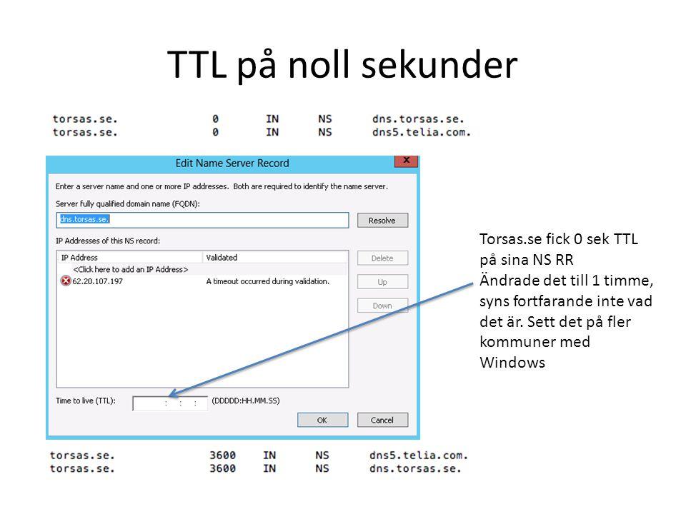 TTL på noll sekunder Torsas.se fick 0 sek TTL på sina NS RR Ändrade det till 1 timme, syns fortfarande inte vad det är. Sett det på fler kommuner med
