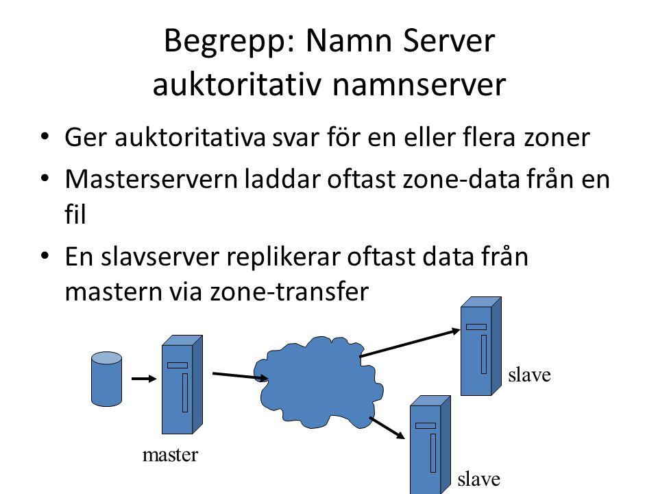 Begrepp: Namn Server auktoritativ namnserver Ger auktoritativa svar för en eller flera zoner Masterservern laddar oftast zone-data från en fil En slavserver replikerar oftast data från mastern via zone-transfer master slave