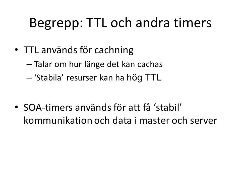 Begrepp: TTL och andra timers TTL används för cachning – Talar om hur länge det kan cachas – 'Stabila' resurser kan ha hög TTL SOA-timers används för att få 'stabil' kommunikation och data i master och server