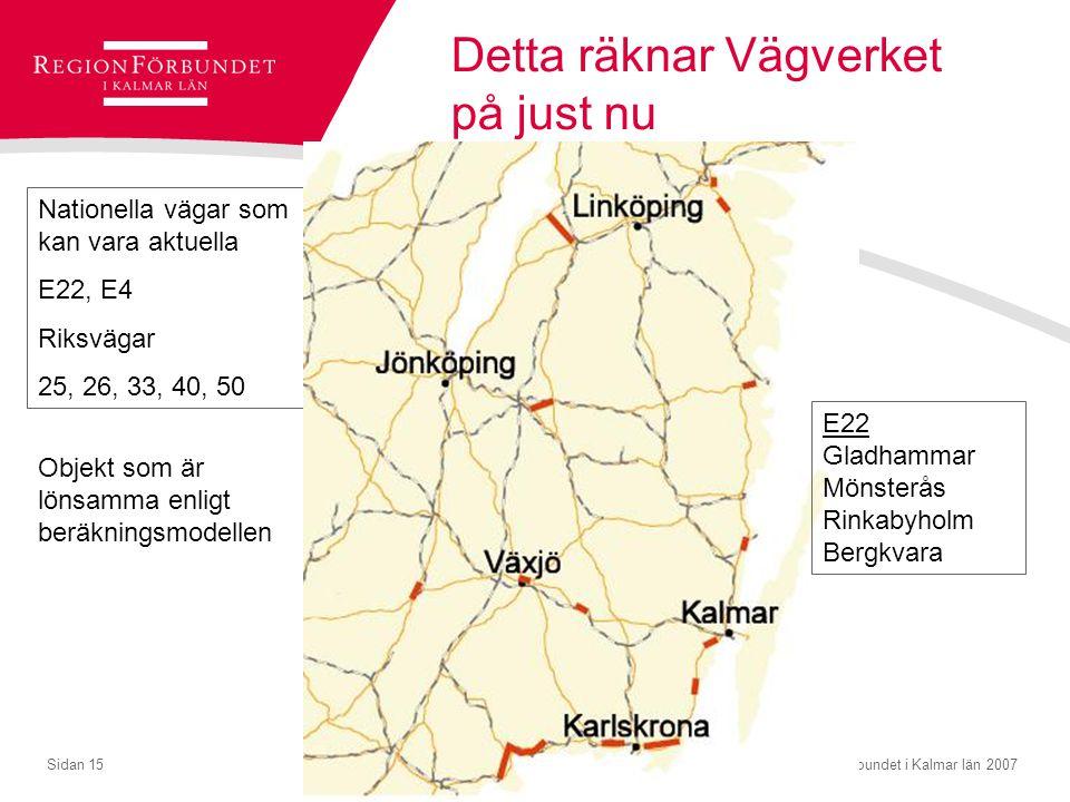 © Regionförbundet i Kalmar län 2007Sidan 15 Detta räknar Vägverket på just nu Nationella vägar som kan vara aktuella E22, E4 Riksvägar 25, 26, 33, 40,
