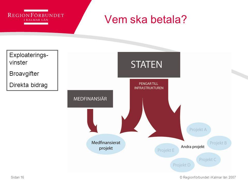© Regionförbundet i Kalmar län 2007Sidan 16 Vem ska betala? Exploaterings- vinster Broavgifter Direkta bidrag