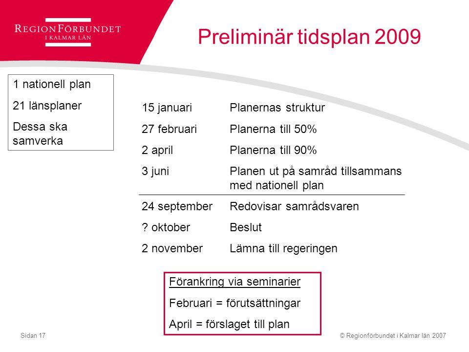 © Regionförbundet i Kalmar län 2007Sidan 17 Preliminär tidsplan 2009 15 januariPlanernas struktur 27 februariPlanerna till 50% 2 aprilPlanerna till 90