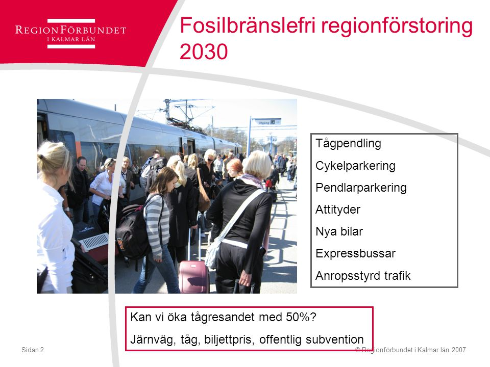 © Regionförbundet i Kalmar län 2007Sidan 2 Fosilbränslefri regionförstoring 2030 Tågpendling Cykelparkering Pendlarparkering Attityder Nya bilar Expre
