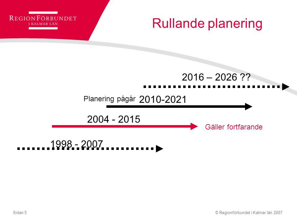 © Regionförbundet i Kalmar län 2007Sidan 5 Rullande planering 1998 - 2007 2004 - 2015 2010-2021 2016 – 2026 ?? Gäller fortfarande Planering pågår