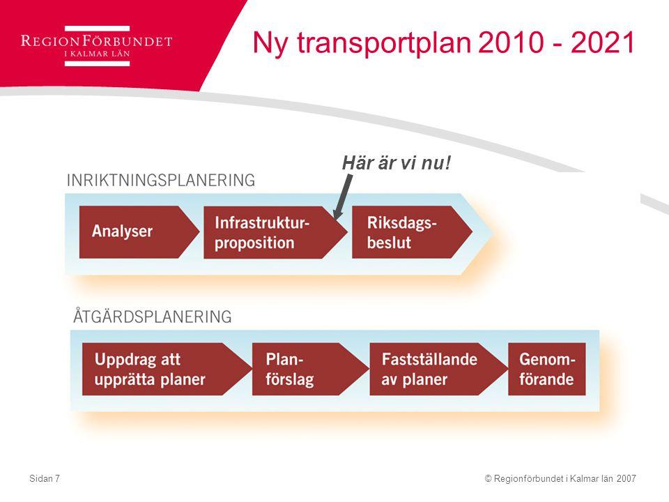 © Regionförbundet i Kalmar län 2007Sidan 7 Ny transportplan 2010 - 2021 Här är vi nu!