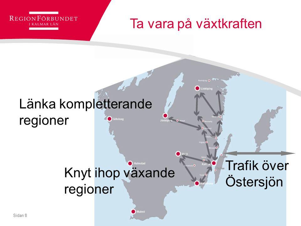© Regionförbundet i Kalmar län 2007Sidan 8 Ta vara på växtkraften Knyt ihop växande regioner Länka kompletterande regioner Trafik över Östersjön