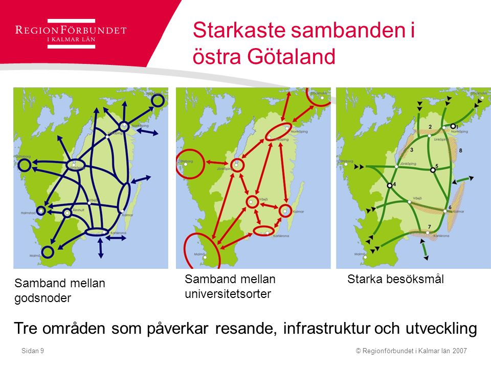 © Regionförbundet i Kalmar län 2007Sidan 9 Starkaste sambanden i östra Götaland Samband mellan godsnoder Samband mellan universitetsorter Starka besök