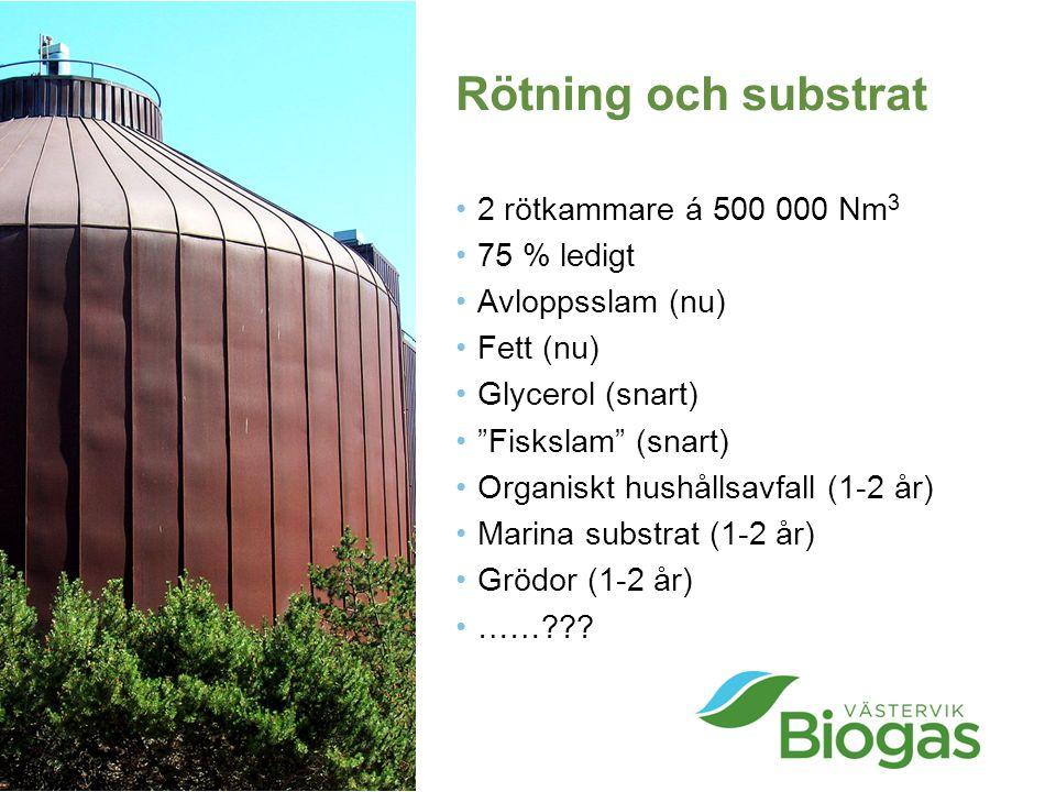 """Rötning och substrat 2 rötkammare á 500 000 Nm 3 75 % ledigt Avloppsslam (nu) Fett (nu) Glycerol (snart) """"Fiskslam"""" (snart) Organiskt hushållsavfall ("""
