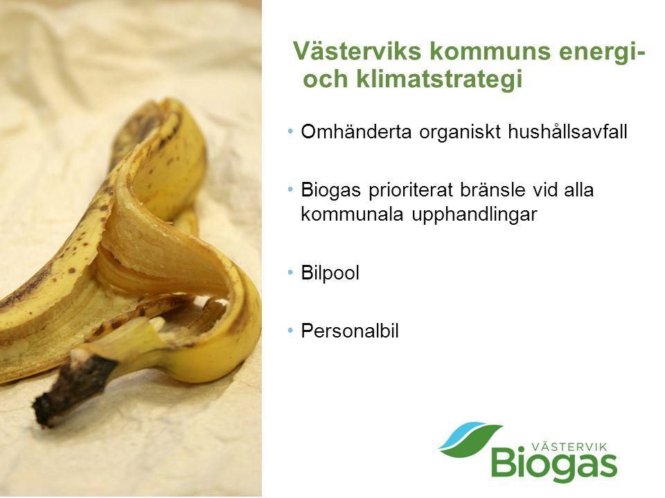 Västerviks kommuns energi- och klimatstrategi Omhänderta organiskt hushållsavfall Biogas prioriterat bränsle vid alla kommunala upphandlingar Bilpool Personalbil
